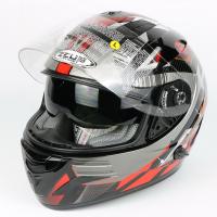 """Мотошлем """"ZEUS"""" ZS-806F, SOLID BLACK-RED (черно-красный)"""