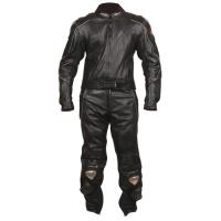 Мотокостюм (куртка, штаны) кожаный черный NF-8003 ATROX